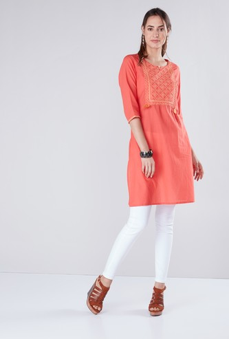 Embroidered Tunic with Tassel Detailing