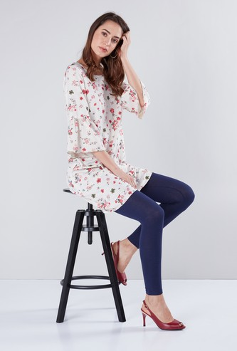 Round Neck Printed Tunic with Bell Sleeves