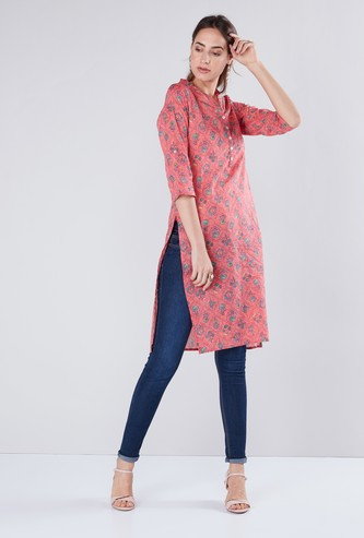 Printed Mandarin Collar Tunic with 3/4 Sleeves