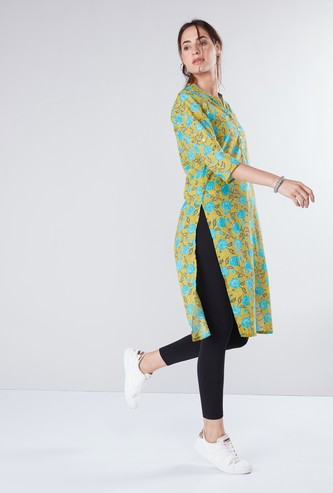 Floral Printed Tunic with Mandarin Collar and 3/4 Sleeves