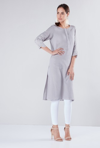Schiffli Embroidered Round Neck Tunic with 3/4 Sleeves
