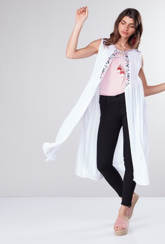 Embroidered Open Front Shrug with Tie Ups