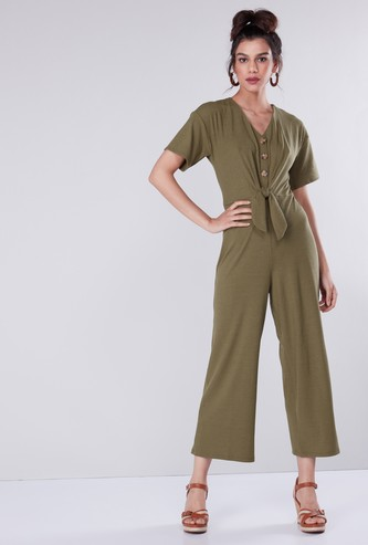Textured V-neck Jumpsuit with Short Sleeves and Knot Detail