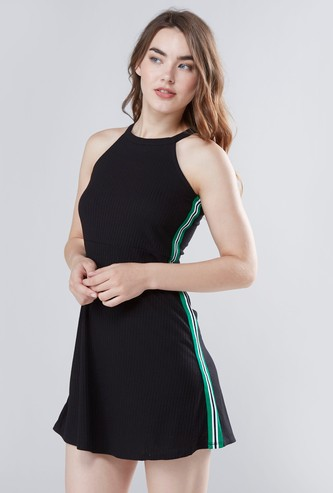 Textured Mini A-line Dress with Halter Neck and Side Tape Detail