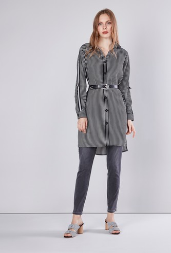 Striped Button Through Tunic with Long Sleeves
