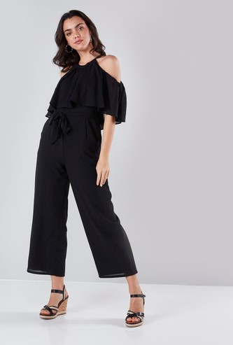 Cold Shoulder Solid Jumpsuit with Ruffle Detail