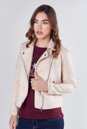 Textured Biker Jacket with Full Sleeves and Zip Closure