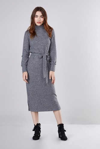 Textured A-line Midi Dress with Turtle Neck and Tie Ups