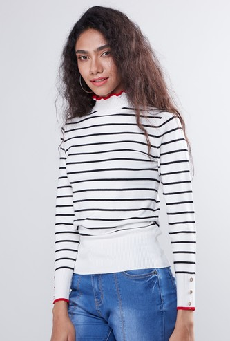 Striped High Neck Sweater with Long Sleeves