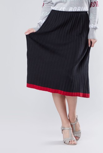 Textured Midi A-line Skirt with Elasticised Waistband and Pleat Detail