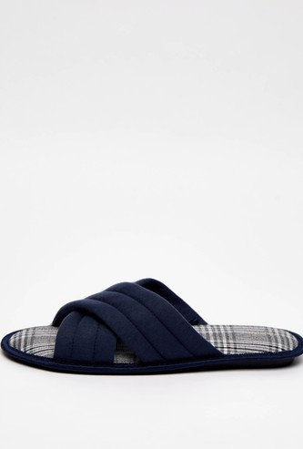 Cross Strap Bedroom Slippers with Chequered Footbed