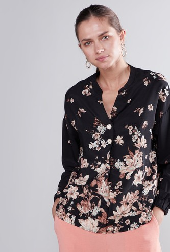 Floral Printed Top with Long Sleeves and Complete Placket