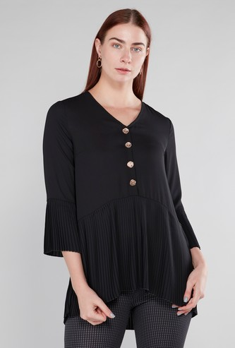 Textured Top with V-neck and Flounce Sleeves