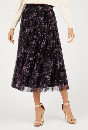 Floral Print Midi Pleat Detail Skirt with Elasticated Waistband