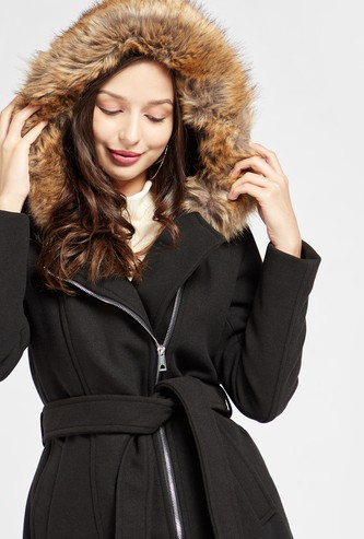 Solid Jacket with Plush Detail Hood and Long Sleeves