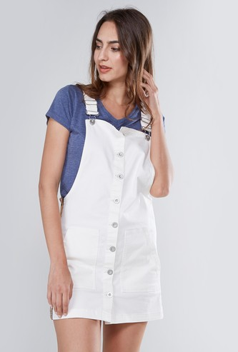 Mini Sleeveless Dungarees with Tape Detail
