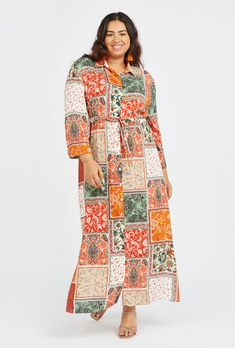 Printed Maxi A-line Shirt Dress with Long Sleeves and Tie Ups