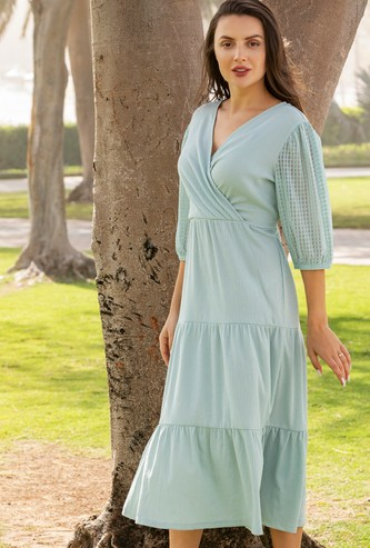 Crinkle Knit Tiered Wrap Midi Dress with 3/4 Sleeves and Tie-Ups