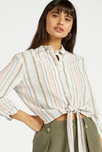 Striped Shirt with Knot Detail and Roll-Up Sleeves