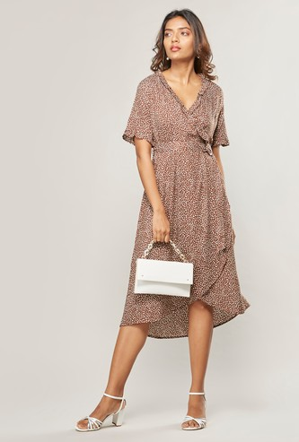 Printed Asymmetric Wrap Dress with V-Neck and Short Sleeves