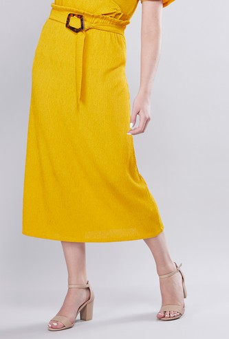 Ribbed Midi Skirt with Elasticised Waistband and Belt