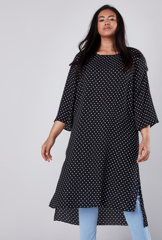 Polka Dot Printed Tunic in Regular Fit with Round Neck