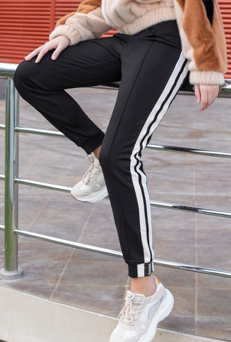 Ankle-Length Jog Pants with Striped Side Tape and Drawstring