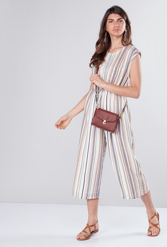 3/4 Length Striped Jumpsuit with Pocket Detail and Extended Sleeves