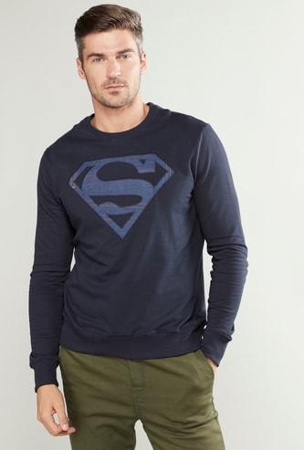 Super Man Print Sweatshirt with Long Sleeves