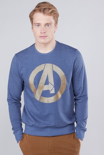 Avengers Printed Sweatshirt with Round Neck and Long Sleeves