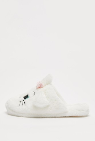 Marie Plush Slip-On Bedroom Slippers with Bow Applique