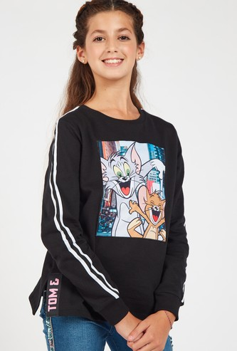 Tom and Jerry Print Round Neck Sweatshirt with Long Sleeves