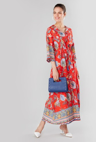 Print Maxi A-line Dress with V-neck and Tie Ups