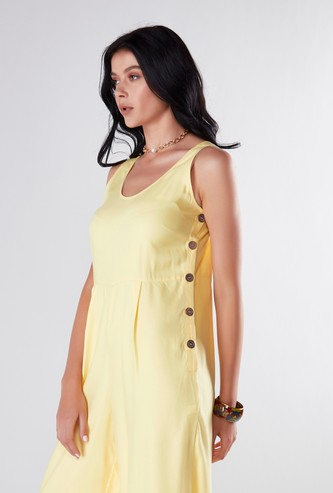 Solid Sleeveless Jumpsuit with Button Detail
