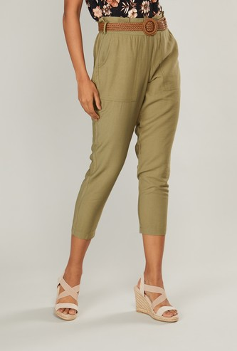 Solid Cropped Pants with Pockets and Belt Detail