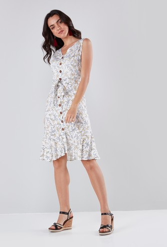 Floral Printed Sleeveless Shirt Dress with Tie Up Belt