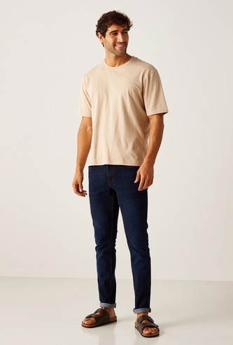 Full Length Jeans with Pocket Detail and Button Closure