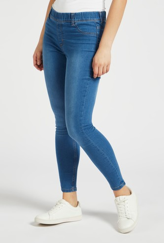 Super Skinny Plain Mid Waist Jeggings with Elasticated Waistband