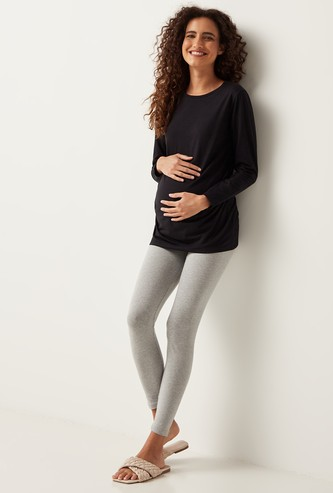 Full Length Anti-Pilling Maternity Leggings with Elasticised Waistband