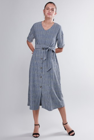 Chequered A-line Midi Dress with Tie Ups and Short Sleeves