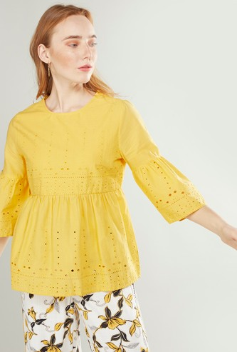 Broderie Woven Round Neck Top with Bell Sleeves