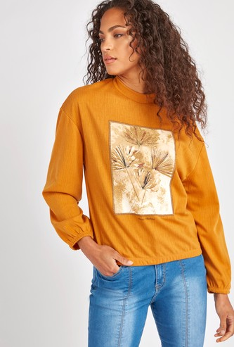 Floral Graphic Print Sweat Top with Long Sleeves
