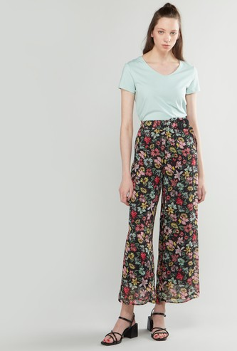 Floral Printed Palazzo Pants with Paperbag Waist and Belt