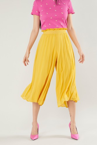 Solid Pleated Culottes with Paper Bag Waistband