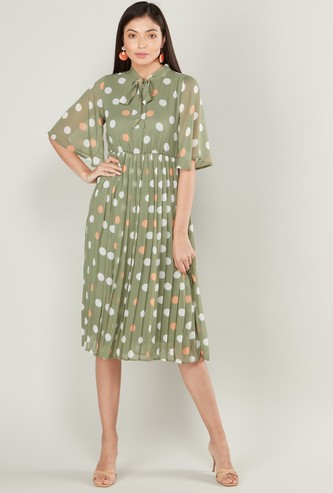Polka Dot Midi A-line Dress with Short Sleeves and Pussy Bow Neck