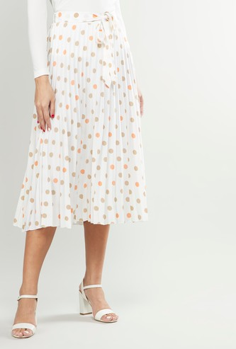 Printed Midi A-line Skirt with Pleats and Tie-Ups