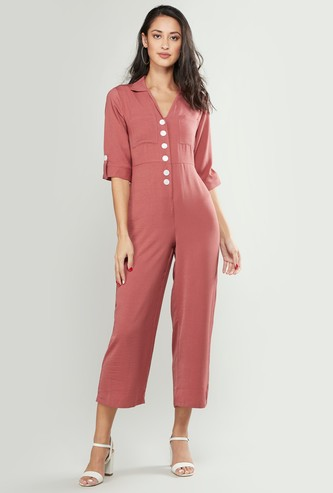 Lapel Collar Jumpsuit with 3/4 Sleeves and Tie Ups