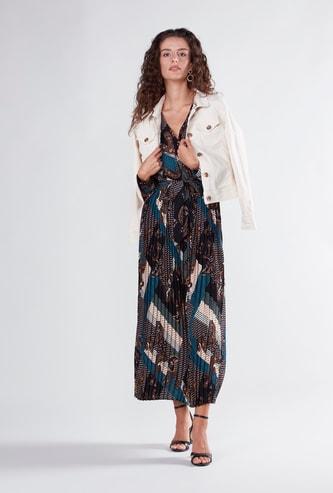 فستان ماكسي ملفوف بقصة إيه لاين وياقة V وأكمام طويلة وطبعات