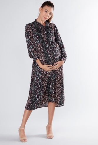 Printed Midi A-line Dress with Necktie and Long Sleeves