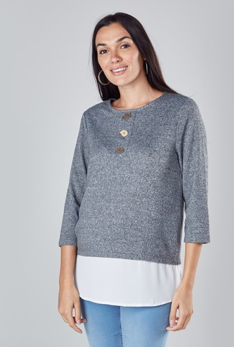 Textured Top with 3/4 Sleeves and Button Detail